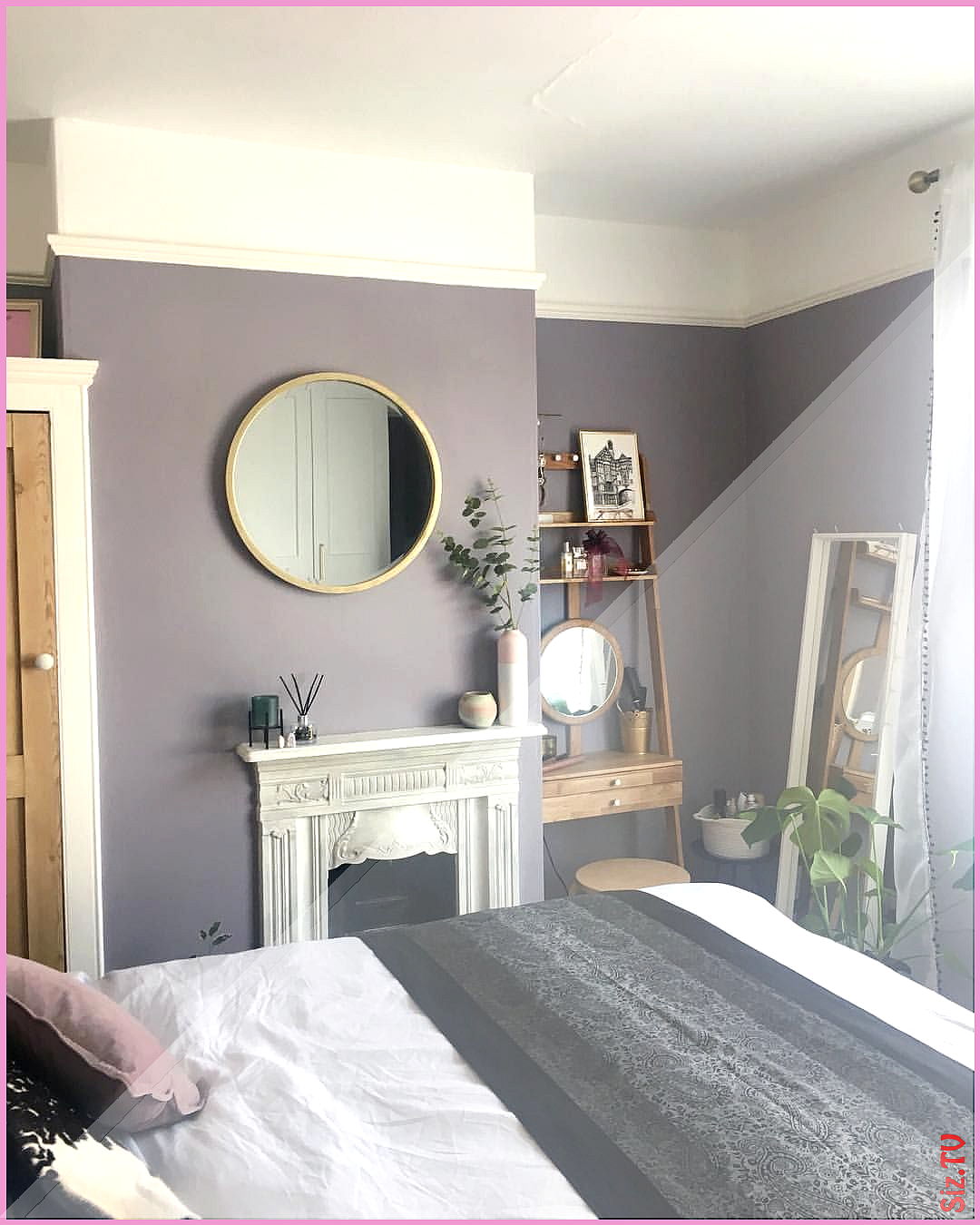 Paint Library Erica walls Laura Ashley mirror Lilac bedroom decor