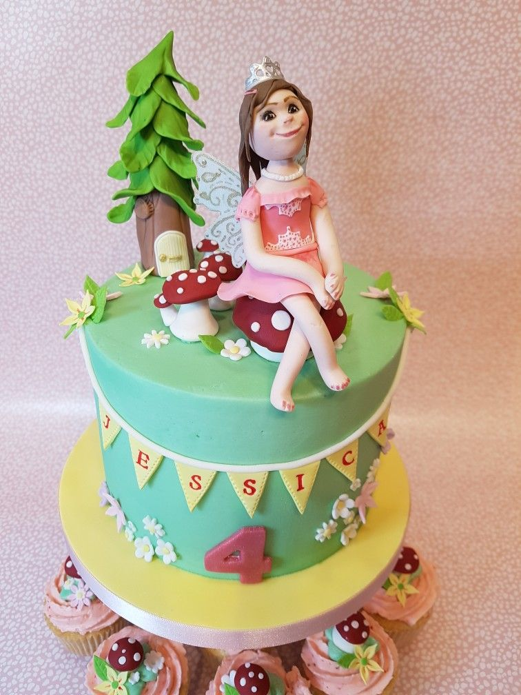Fairy Princess cake strawberry buttercream sugar figure