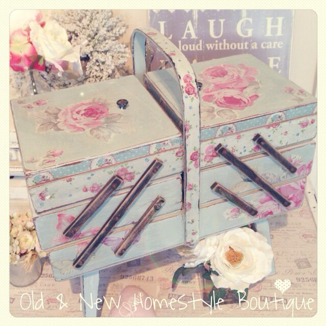 Vintage sewing box decoupaged with napkins.....I have this box! Gotta try to spruce it up like this. Gorgeous