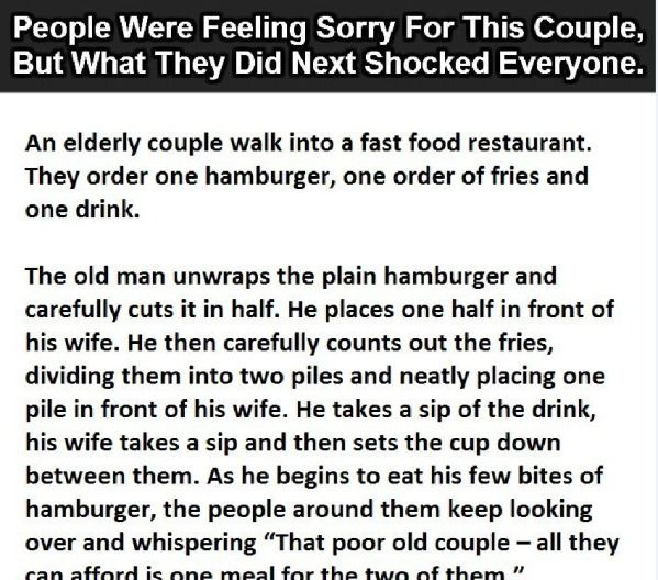 Everybody thought his wife is not eating, and then she said this. (Click to Enlarge)