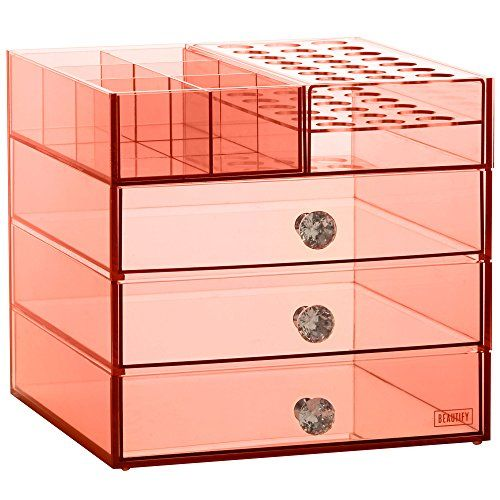 Beautify Large Blush Pink Acrylic Makeup Organizer Cube with 3 Drawers and 6 Upper Storage Compartments with Crystal Handles for Vanity Tables 11.8 x 11.8 x 11 inches