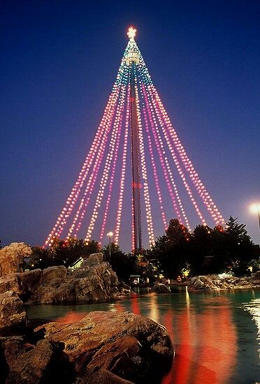 Sky Tower In Sea World San Diego Pretty Christmas Lights