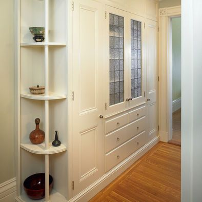 Beautiful White Built In Cabinets Hallway Closet Doors
