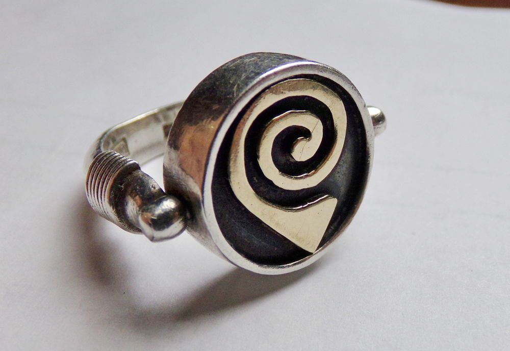 MODERNIST STERLING SILVER FLIP RING GOLD ACCENT GARNET SPINNER ROTATES #Unknown #FlipSpinner