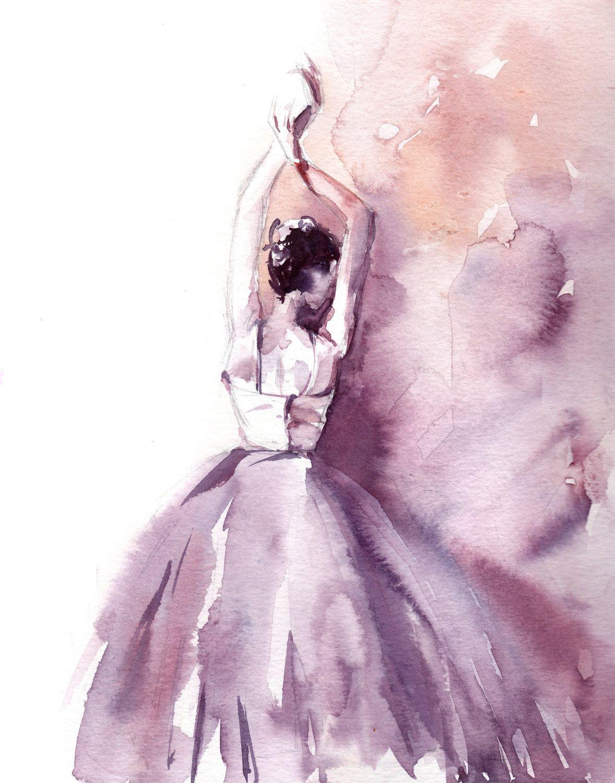 ballerina watercolor print watercolor painting от canotstopprints