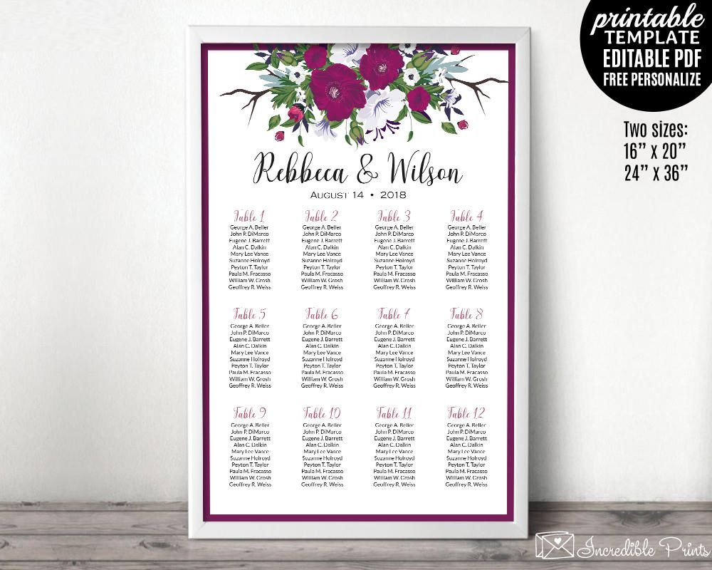 Wedding Seating Chart Template Printable Seating Chart Purple