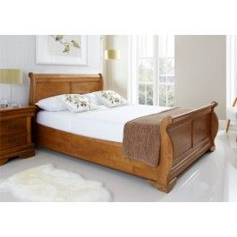 Louie Wooden Sleigh Bed Oak Finish Wooden Sleigh Bed Wooden