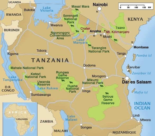 tanzania safari map Google Search Africa Pinterest Tanzania