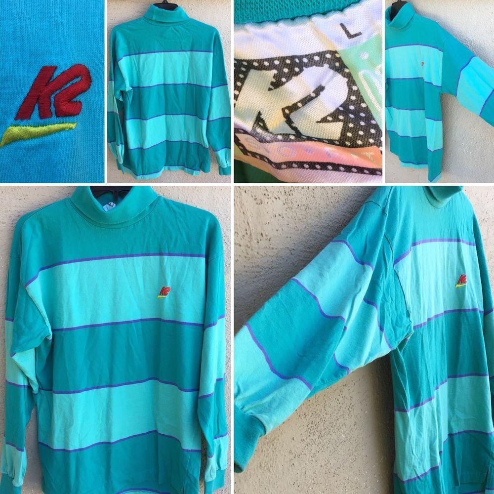 Vintage 1988 K2 Turtleneck Striped Shirt L Ski Snowboard 80s 90s 1980s  1990s | eBay
