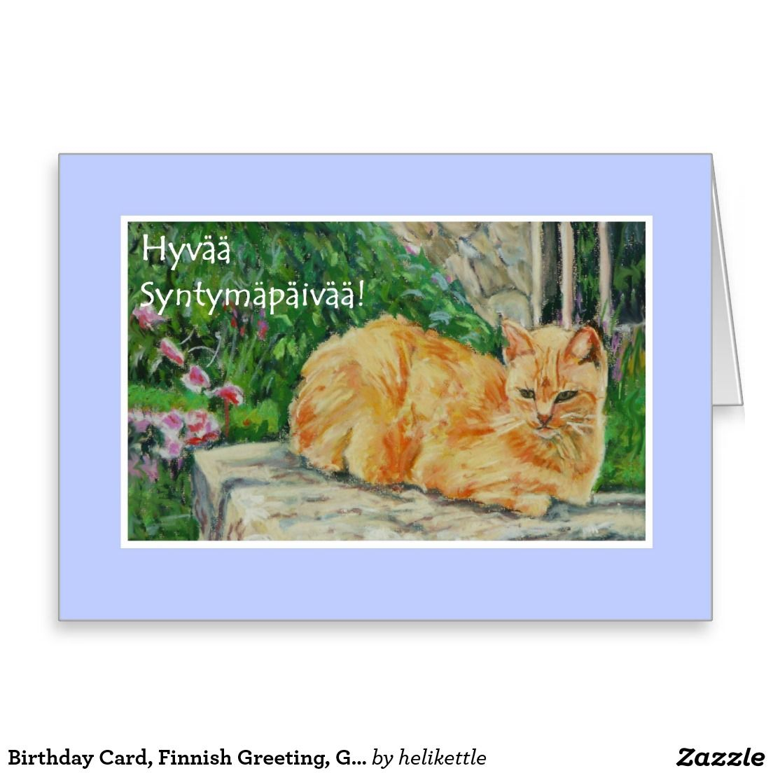 Birthday Card Finnish Greeting Ginger Cat Greeting Card Up To