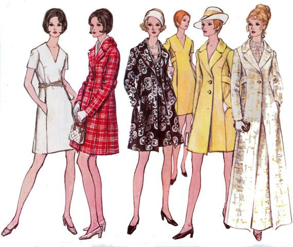 1960s Princess Seamed Dress & Coat Vintage Vogue 2256 Sewing Pattern Size 12 Bust 34 Inches UNCUT FF