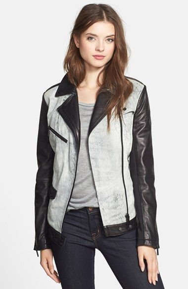 b542a026d950 aB Two-Tone Washed Leather Moto Jacket available at  Nordstrom ...