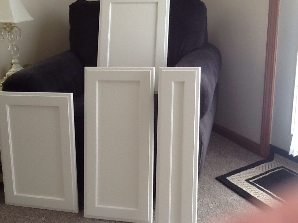 New Barker cabinet doors delivered today. The color Dover White is a nice soft white & New Barker cabinet doors delivered today. The color Dover White is ... Pezcame.Com