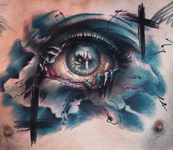 Realistic Eyes Tattoo by Charles Huurman   Tattoo No. 12415