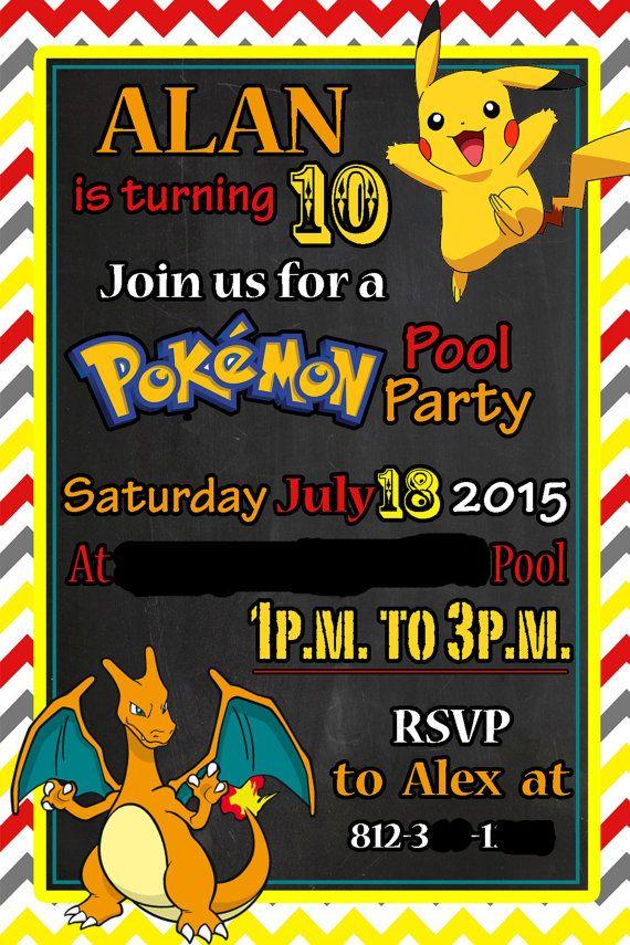 Pokemon Pool Party Birthday Invitation Pikachu And Charzard Pool Party Birthday Invitations Pokemon Birthday Party Pokemon Birthday