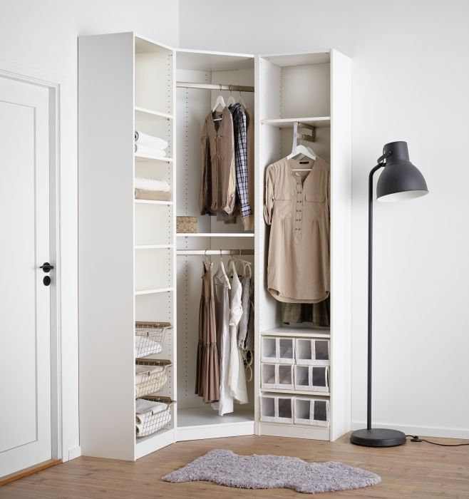 PAX fataskápur Corner wardrobe, Bedroom closet storage
