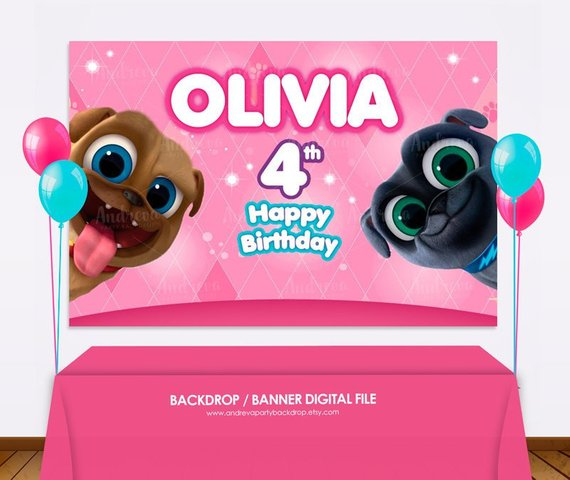 Puppy Dog Pals Backdrop Puppy Dog Pals Birthday Party Girl Etsy Girls Birthday Party Puppy Birthday 1st Birthday Banners