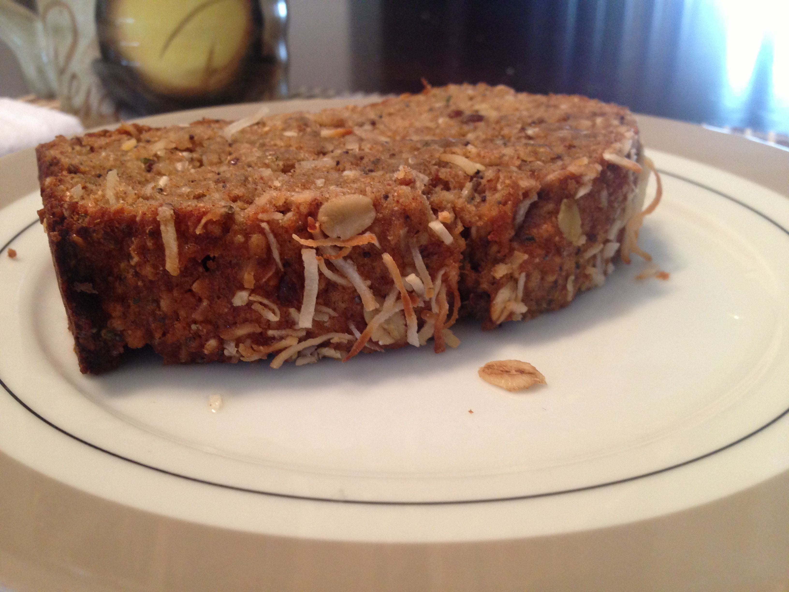 banana bread: 1/2 C coconut oil 1/4 C Brn sugar packed 2 eggs 4 over-ripe bananas mashed 1 T vanilla 1 1/2 C whole wheat flour 2 t baking powder 1/2 t salt 1/2 C blendered oats (or instant) 2 t cinnamon  3/4 C healthy add ins (seeds, nuts, raw coconut, hemp hearts, chia, flax meal or seed, fibers, brans, germs,protein, raisins/cr...