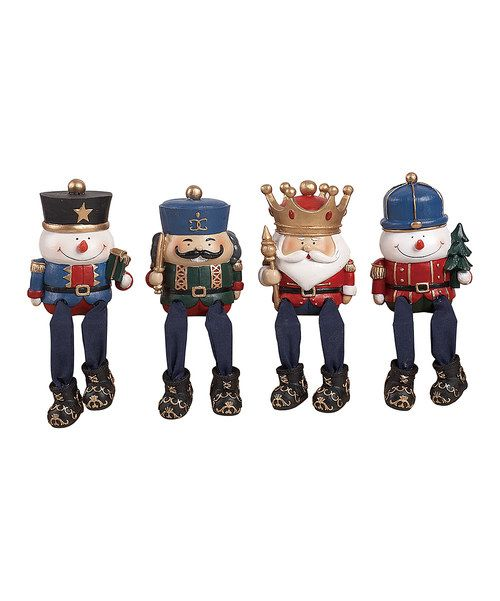 Complete the seasonal décor with the help of this nifty nutcracker figurine set. Their carefully crafted design makes them perfect candidates for any bookshelf or mantelpiece in need of a little holiday cheer.Includes four figurines3'' W x 4'' H x 3.25'' DPolyresinImported