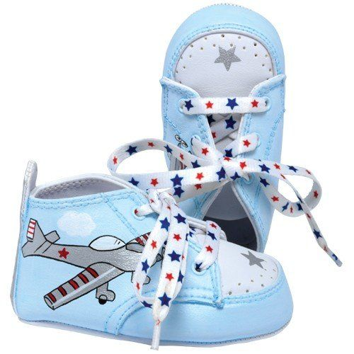 Blue Airplane Baby Shoes In Gift Box 3 6 Months Hand Painted Baby