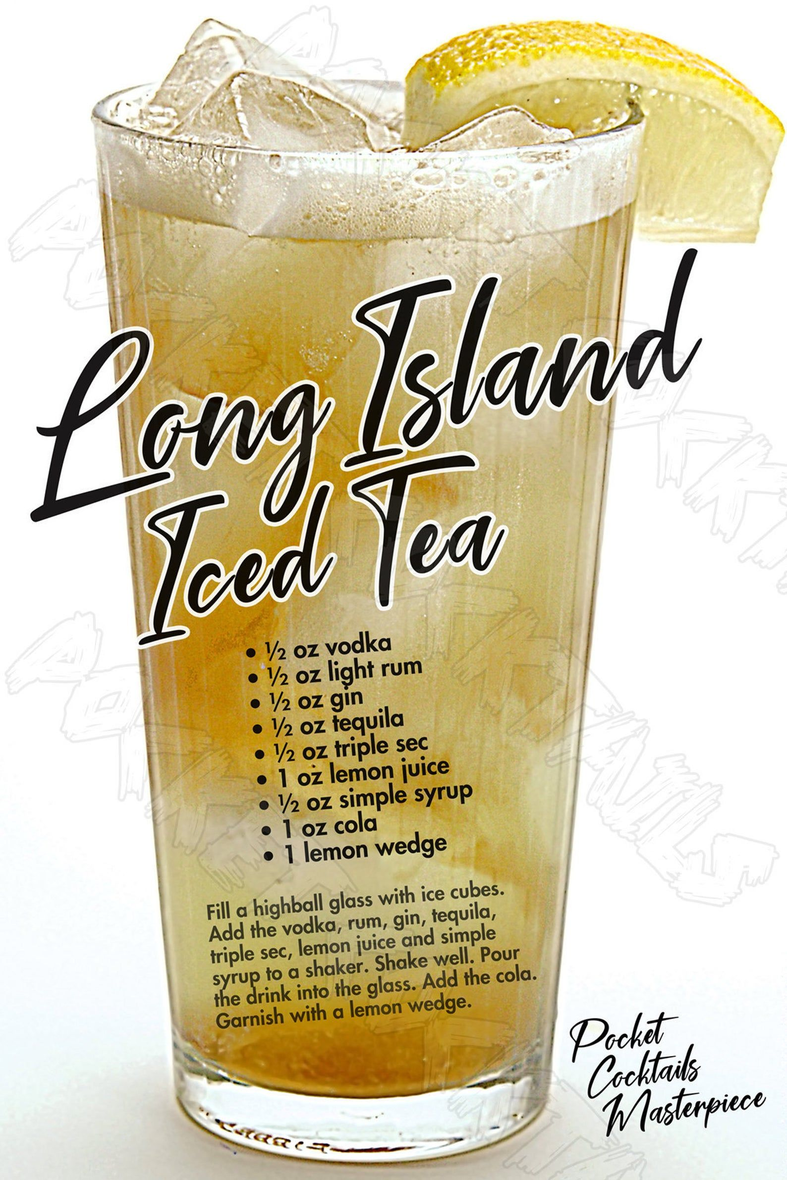 12x18 Long Island Iced Tea Cocktail Poster | Etsy