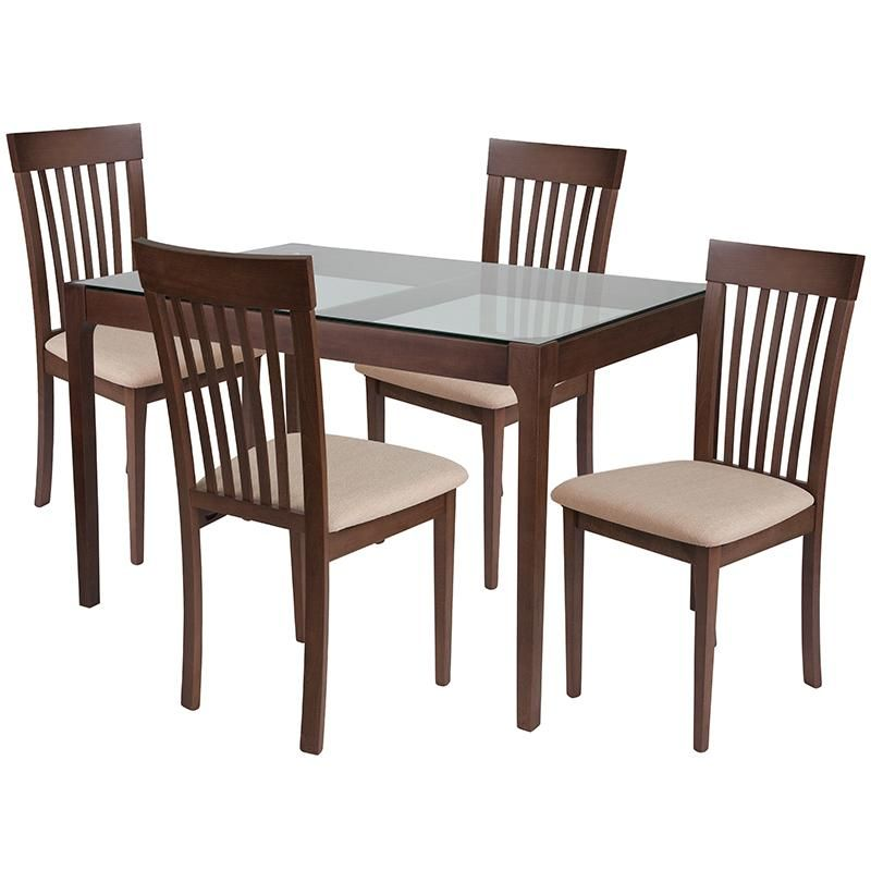 Best Clayton 5 Piece Walnut Wood Dining Table Set With Glass 640 x 480
