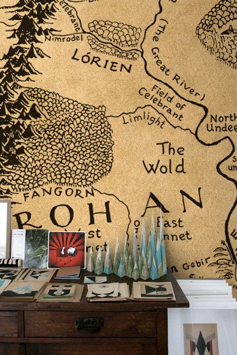 Completely awesome!!! Wall decal of Middle Earth Vintage style