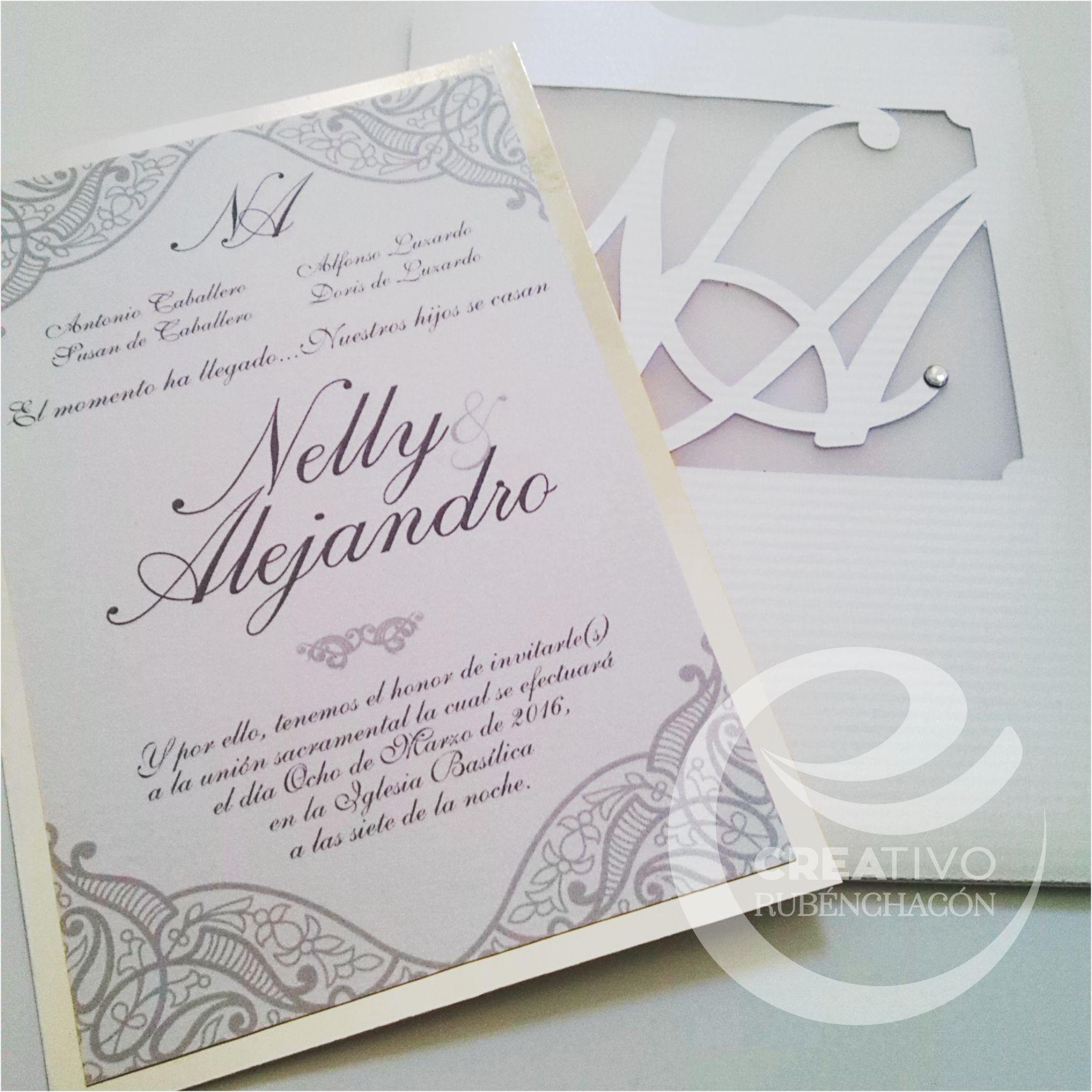 Hermosa invitaci n modelo nelly en tono blanco y plata - Modelos de tarjetas de boda ...