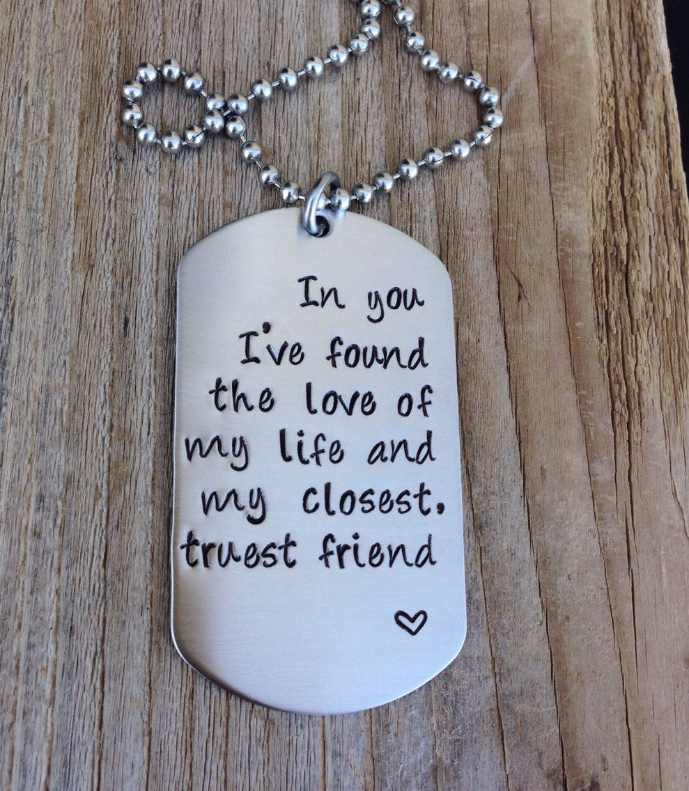 Custom Dog Tag Hand Stamped Love Quite Gift For Him Military Couple Anniversary Gift Stainless Steel Dog Tag