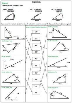 Right Triangle Trigonometry Worksheets SOH CAH TOA