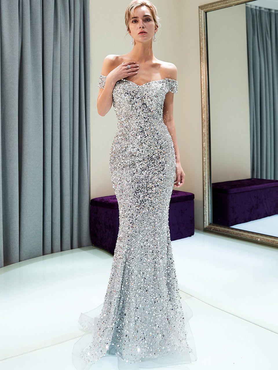 Best wedding dresses for full bust  silver mermaid prom dressessequin mermaid prom dressesbeaded prom