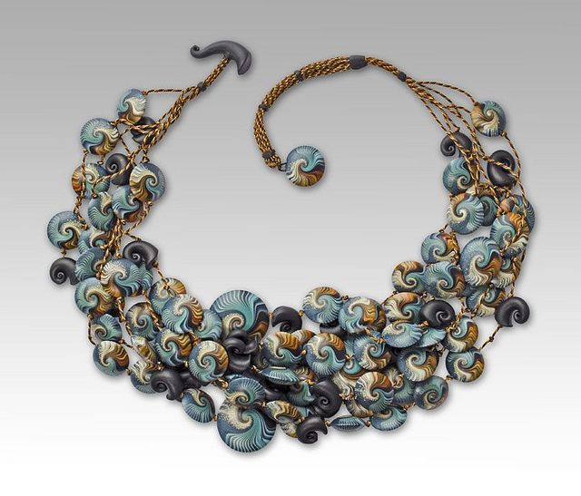 Necklace by Laura Timmins, made of her Ocean polymer clay beads.