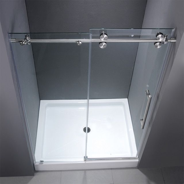 Contemporary Frameless Sliding Shower Doors For Small Bathroom