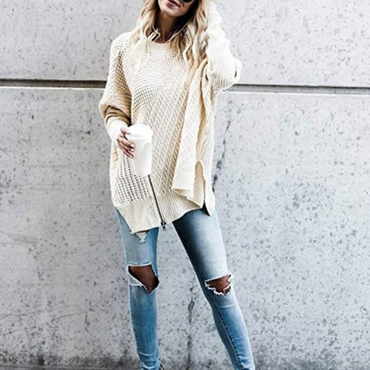 Side Split Knitted Sweater w/ Zipper #mittellangeröcke