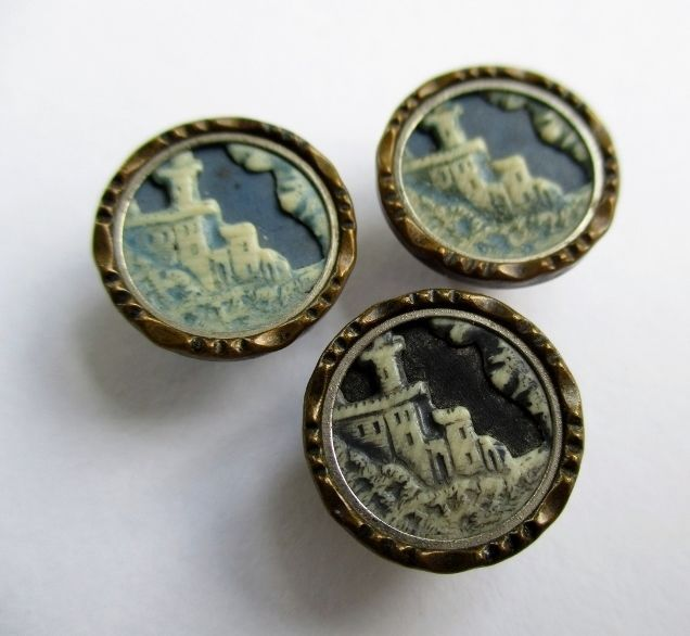 SMALL ANTIQUE VINTAGE CELLULOID & METAL BUTTONS IVOROID ...