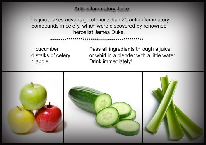 Celery is composed of more than 20 anti-inflammatory compounds!  Here is a great recipe that not only reduces inflammation but tastes refreshing!!