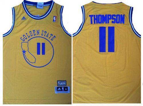 3ffefed76 Men s Golden State Warriors  11 Klay Thompson Yellow Hardwood Classics Soul  Swingman Throwback Jersey