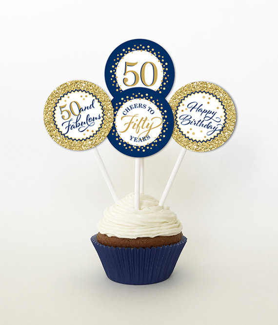 50th Birthday Cupcake Toppers Gold And Navy Blue Favor Tags PRINTABLE 2