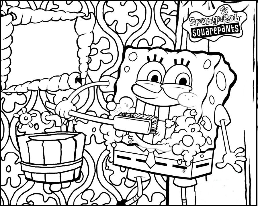spongebob brushing teeth coloring picture for kids
