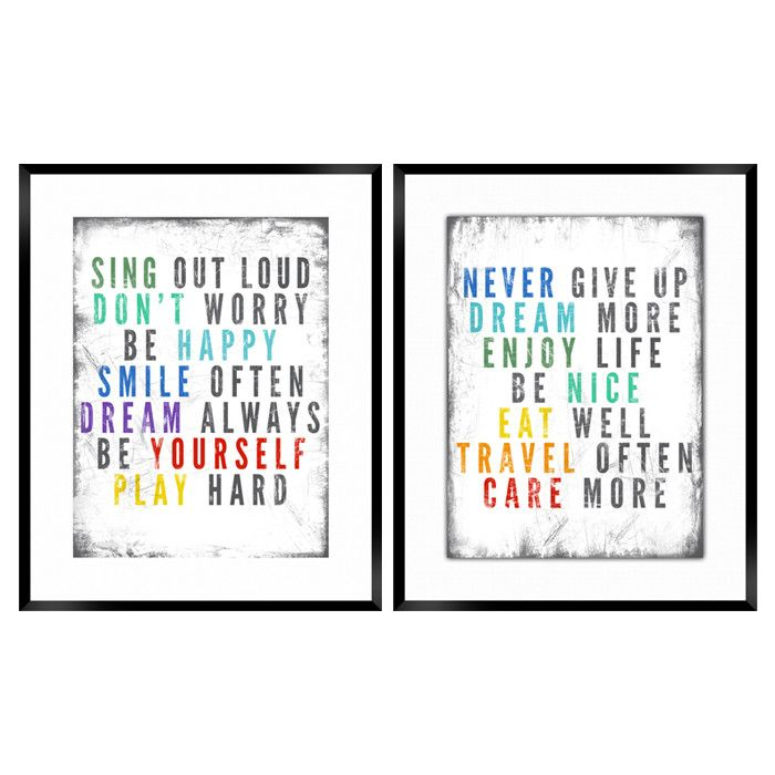 2 Piece Colorful Quotes Framed Print Set Truer Words Have Never