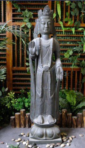 """Buddha giving blessings with left hand in Enlightment gesture, right hand in Protecting, """"No Fear"""" gesture"""