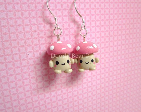 Mushroom Pink Kawaii Cute Dangle Earrings Polymer by DoodieBear