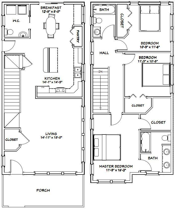 20x42 House 20x42h4b 1 570 Sq Ft Excellent Floor Plans Floor Plans A Frame House Plans House Plans