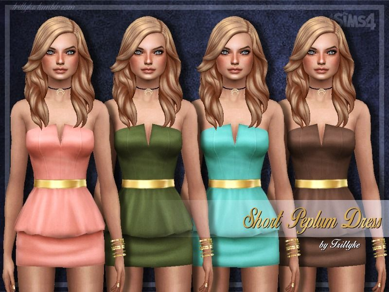 A sexy yet elegant short peplum dress, with a shiny golden belt.  Found in TSR Category 'Sims 4 Female Everyday'