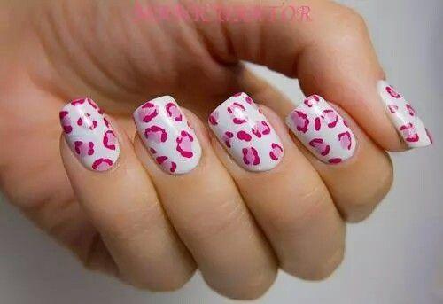 White Nails With Pink Cheetah Design Cute Nails Nails
