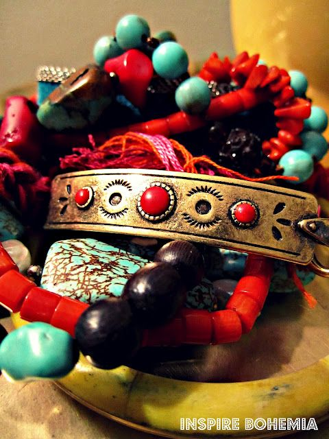 12. SUMMER COLORS // Coral, turquoise, and bright gold // Via: Inspire Bohemia: A Bohemian Traveler's Jewels - Part II