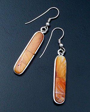 Oval Handmade Earrings Orange Spiny Oyster Sterling Silver Earrings