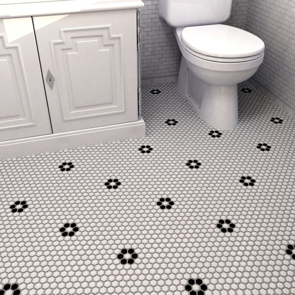 SomerTile 10.25x11.75-inch Victorian Hex Matte White with Flower Porcelain Mosaic Floor and Wall Til