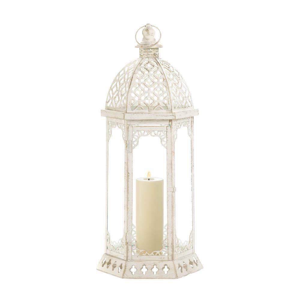 Large Graceful Distressed White Lantern 21 3/4\