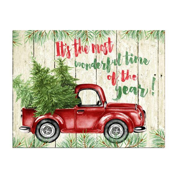 Christmas Wall Art Decor Printable Its The Most Wonderful Time Etsy Christmas Red Truck Watercolor Christmas Tree Christmas Art